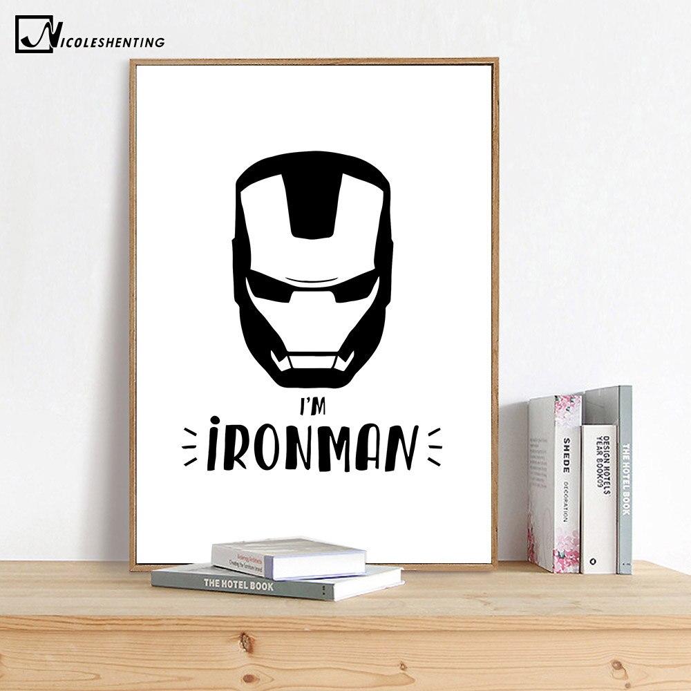 Iron Man Minimalist Art Canvas Poster Painting Cartoon Superheroes Wall Picture Print Modern Home Children Room Decoration