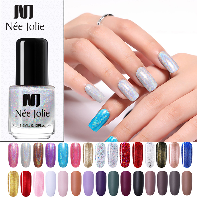 NEE JOLIE Shining Glitter  Laser Nail Polish 8ml/3.5ml/ 7.5ml Purple Matte Varnish  Nail Art Varnish Polish