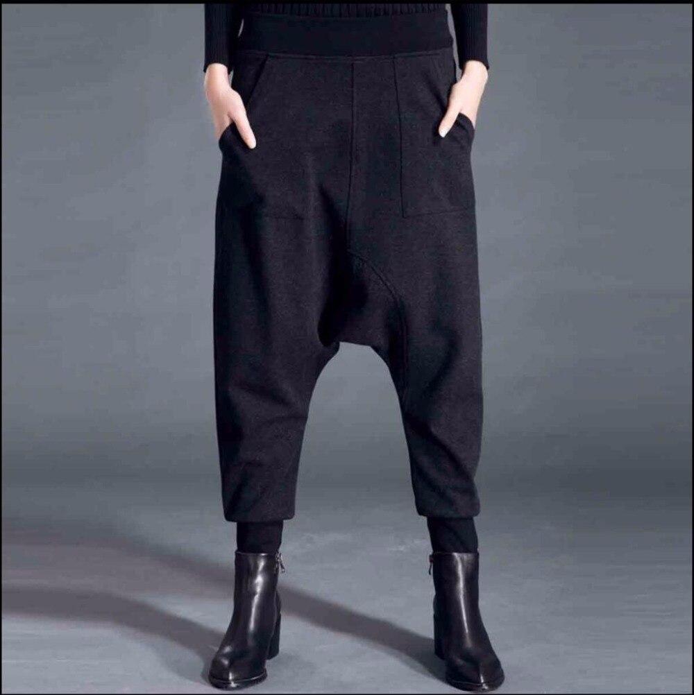 And Gray Dames Entrejambe Nouvelle Fleur D'hiver Chute Harem Et De Mode Black Coton Élasticité Casual Grande Pantalon Femmes Lâche qw6tUTw4x