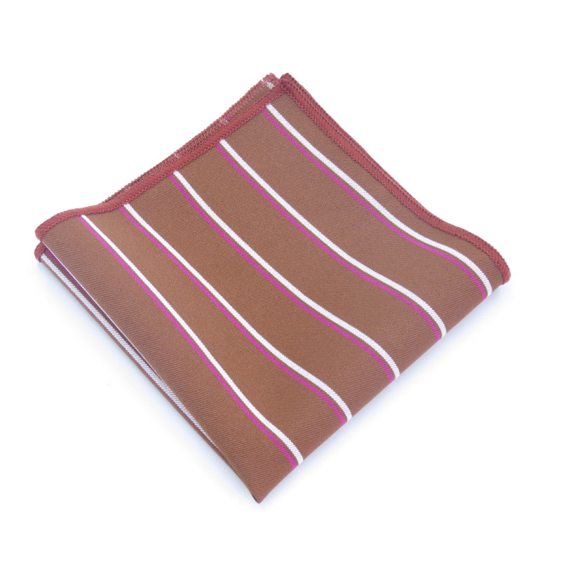 Breast Scarf Small Square Towel Polyester Silk Striped Pattern Men And Women Boutique Suit Pocket Towel Red And White Stripes