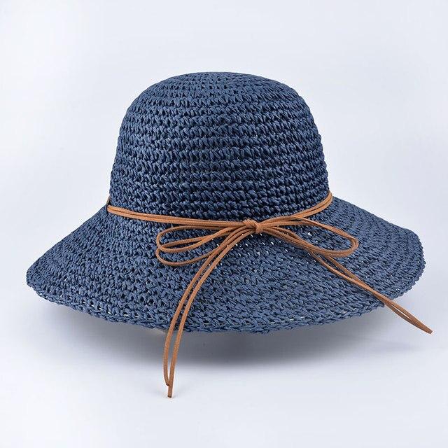9cf8d7145bf 2016 new Fashion Panama Summer Women s Ladies  Foldable Wide Large Brim  Floppy Beach Hat Sun Straw Hat Cap Women Seaside style