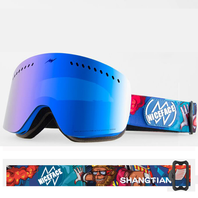 Nouvelles lunettes de ski double UV400 anti-buée grande Personnalité motif masque de ski lunettes de ski hommes femmes neige snowboard lunettes Skiado