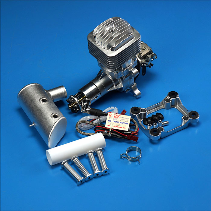 DLE85 85cc Gasoline Engine Rear Exhaust w/ Muffler & Ignition For RC Plane rc boat ignition coil kit for zenoah g260pum 290pum rcmk gasoline engine