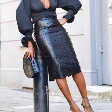 U Leather Sexy Plus Size Skirt For Women Beading Embellished High Waist Pencil Midi Skirt Elegant Back Split Party Skirt AE74