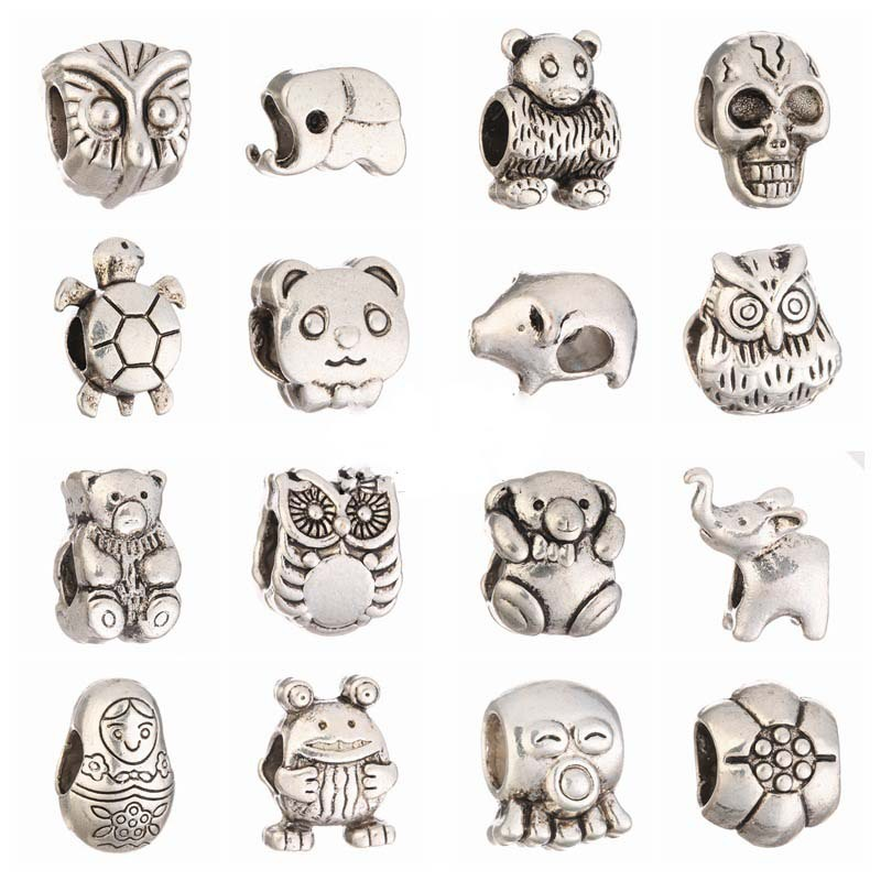 20pcs Silver Big Hole Loose European Spacer Beads Style Charms Diy Bead Fit Pandora Braclets