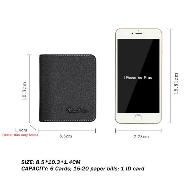 BISON DENIM Black Purse For Men Genuine Leather Men's Wallets Thin Male Wallet Card Holder Cowskin Soft Mini Purses N4429