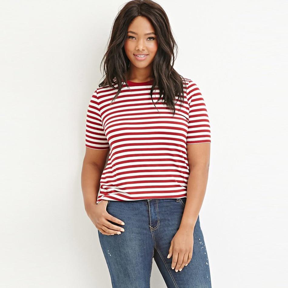 Plus size 5xl women fashion summer red stripe t shirt ...