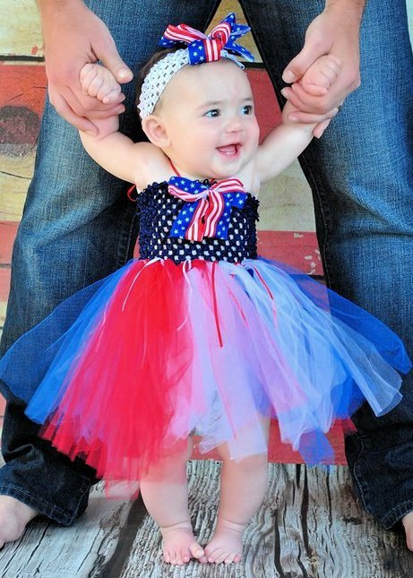 Aliexpress Buy 4th Of July Baby Girl Tutu Dress Set Patriotic White Blue Red Kids Summer Cute With Headband Size NB 2T From Reliable