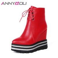 ANNYMOLI High Heels Ankle Boots Platform Black Boots Women Size 34 39 Wedge Heel Women Winter
