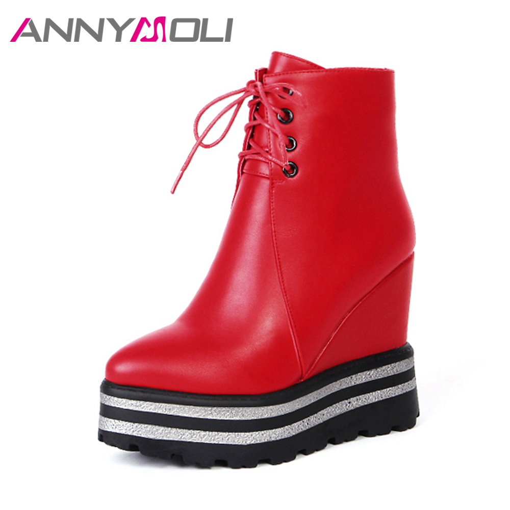 ANNYMOLI Women Ankle Boots Platform Wedge Heel Boots High Heels Black Shoes Lacing Female Autumn Short Boots Zip 2018 Red Black