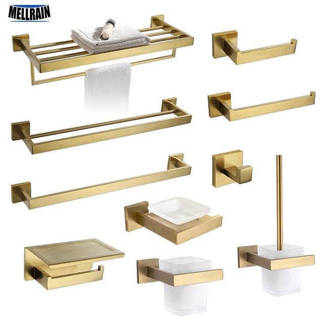 Gold Brushed Bathroom Accessories Hardware Set Towel Bar Rail Toilet Paper Holder Towel Rack Hook Soap Dish Toilet Brush