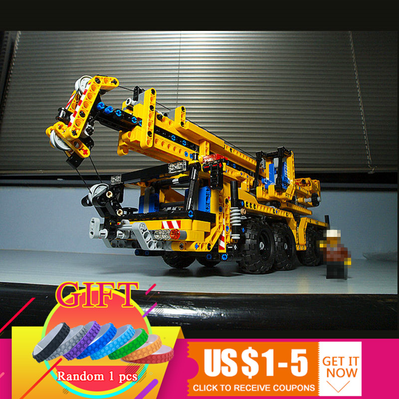 20040 1392Pcs Technical Mechanical Series The Moving Crane Set Educational Building Blocks Compatible with 8053 Toys lepin