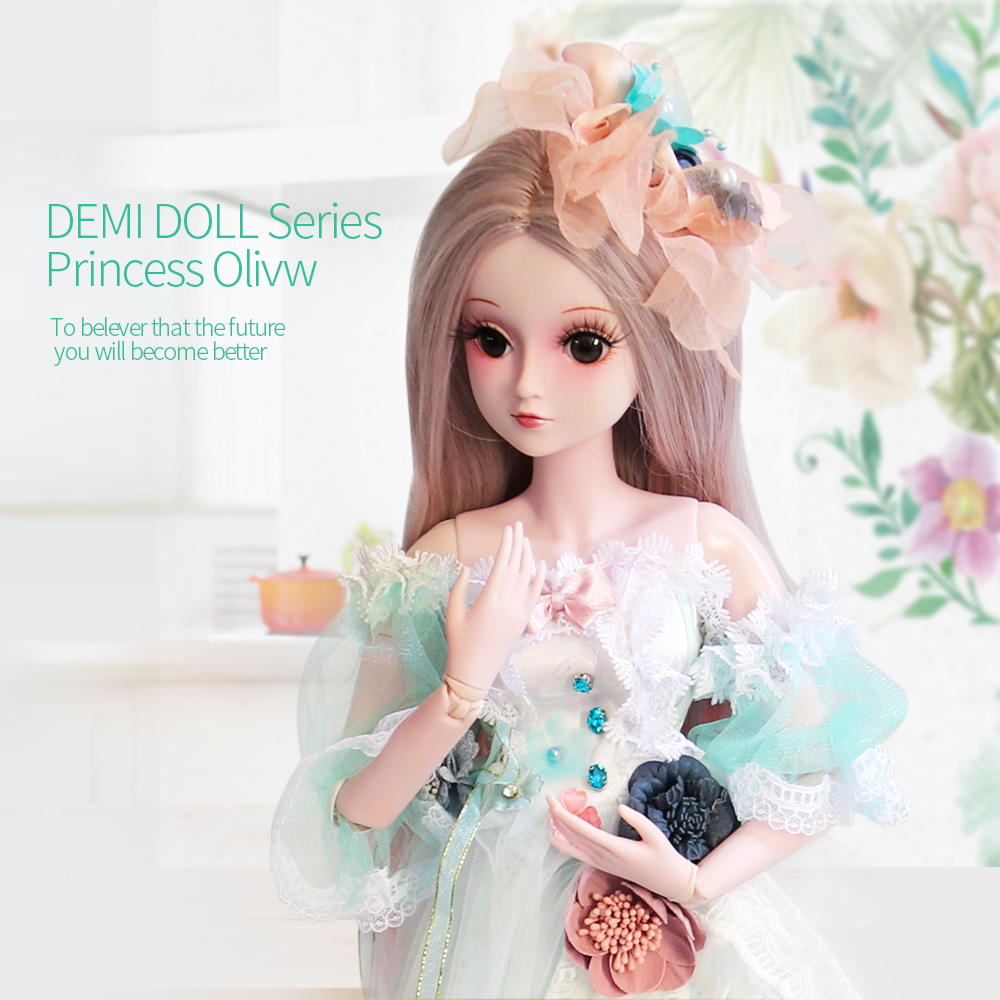 UCanaan 60CM 1/3 BJD SD Doll With Full Outfits Dress Wig Shoes Makeup Girls Dolls Children Dressup Toys Birthday Gifts 60cm bjd doll 24 1 3 sd dolls with beauty dress shoes wig makeup full outfits 18 ball jointed dolls for girls toys gift