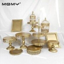 11 Pcs Wedding Cupcake Tray Dessert Metal Crystal Gold 3 Tier Iron Bird Cage Cake Stand