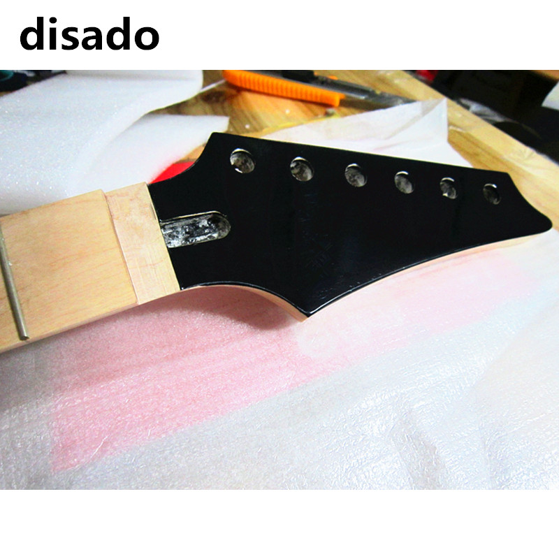 disado 24 Frets inlay dots maple Electric Guitar Neck maple fingerboard wood color black headstock Guitar accessories parts china oem firehawk shop guitar hot selling tl electric guitar stained maple tiger stripes maple wood color page 3