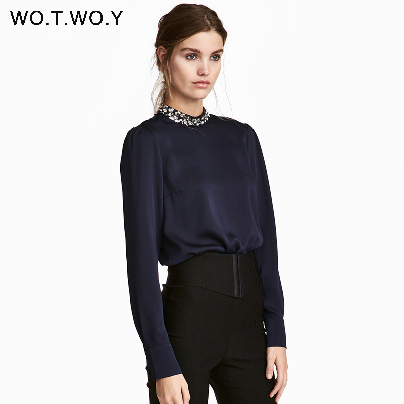 WOTWOY Sequins O-Neck Elegant Office Blouses Women Tops Long Sleeve Blouse Shirt Women Pink Chiffon Blouse 2018 Blusa Feminina