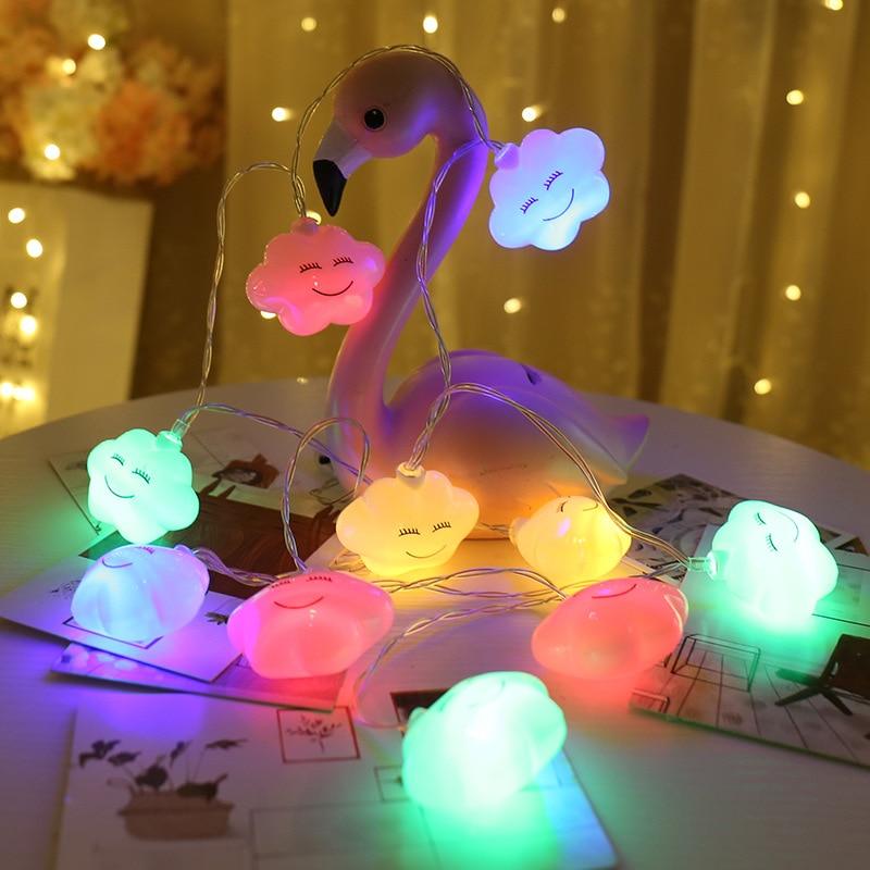 10LED Novelty Cloud String Lights 1.5M Fairy Lamp Led Light Garland For Children Bedroom Home Decoration Battery Powered 3 Color