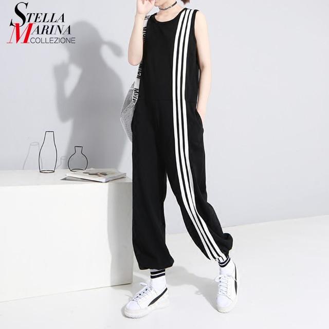 2019 estilo coreano mujeres verano largo negro mono sin mangas rayado señora Casual holgado mono Jump Suit 3644