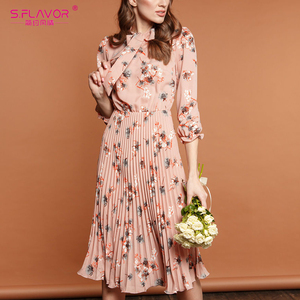 Image 3 - S.FLAVOR 핑크 플라워 프린트 a 라인 드레스 가을 우아한 새로운 패션 파티 Vestidos 겨울 캐주얼 Pleated 미디 드레스 여성을위한