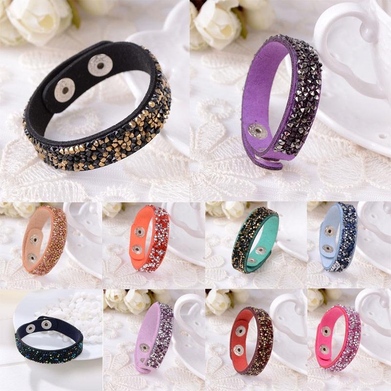 Hot Women Fashion Punk Personality Slake Crystal Wrap Wide Leather Bracelets Jewelry 18 Colors