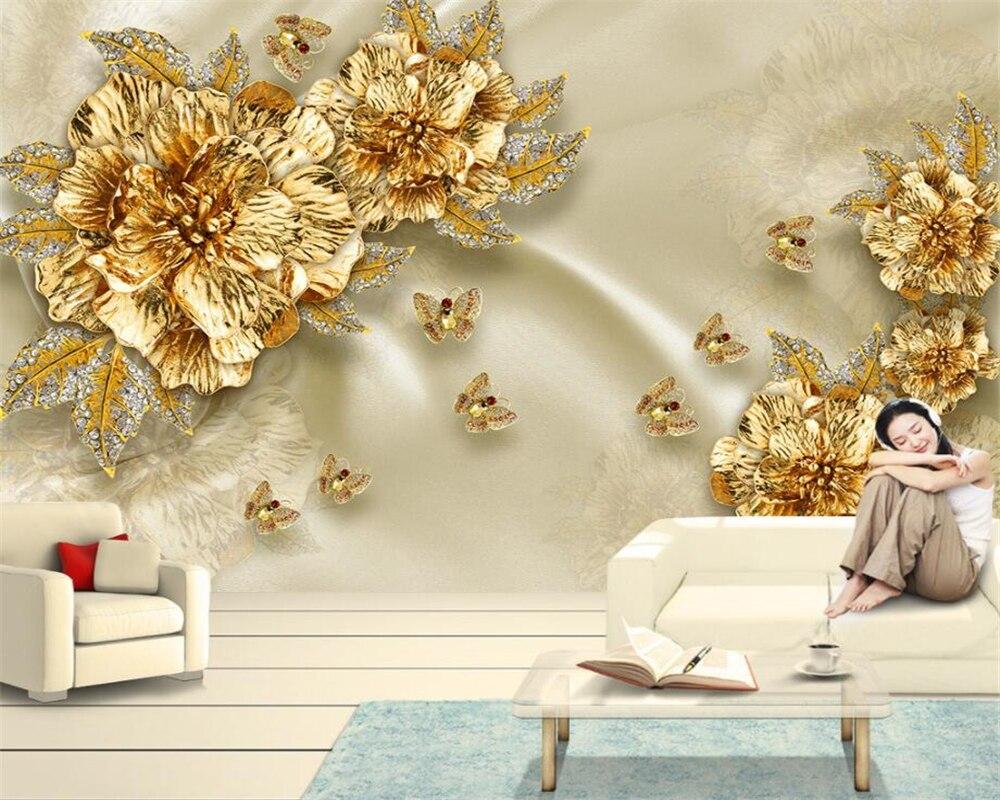 Beibehang Custom Wallpaper Gray European Luxury Gold Diamond Flowers Silk Jewelry Background Wall Home Improvement 3d