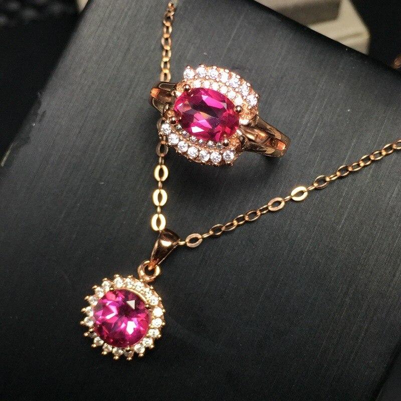 KJJEAXCMY boutique bijoux 925 en argent sterling avec pendentif topaze rose naturel + collier + anneau ensemble chrysanthème