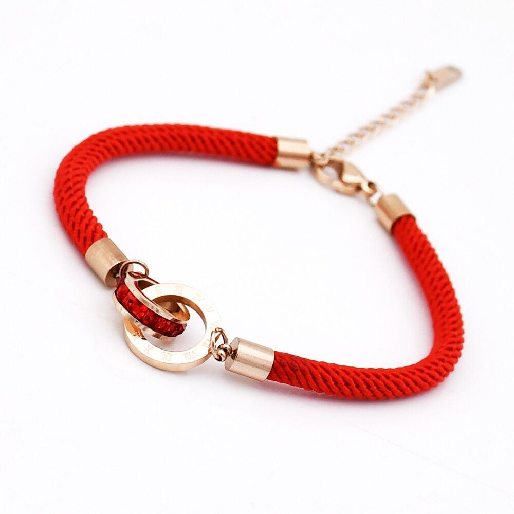 New Fashion Women & Men Charm Red Rope Bracelets Roman Numerals Zircon Bracelets For Women Pulseira Jewelry Wholesale