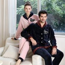 womens pajamas set Winter Thick Warm Flannel Pajama Sets Women Pyjamas Homewear Sleepwear Female