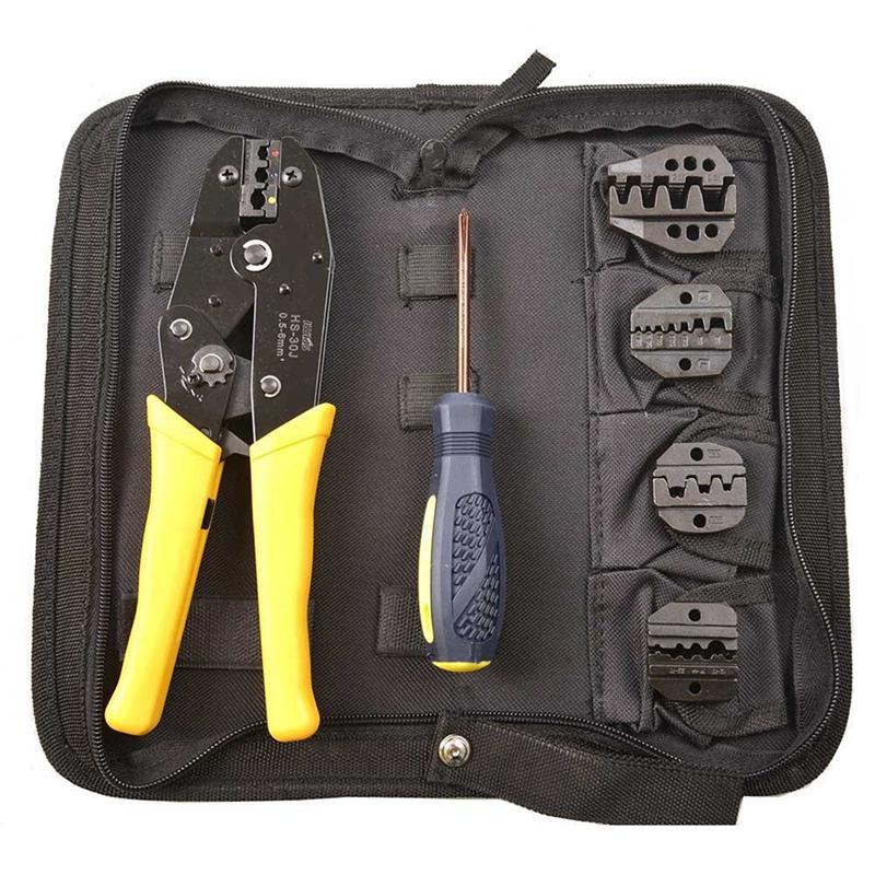 Crimping Tool Kit Terminal Ratchet Plier Crimper 5 Interchangeable Die Sets Insulated Non-insulated Cable Wire Hand Tool gulliver мишка алешка 28 см 41 7113b
