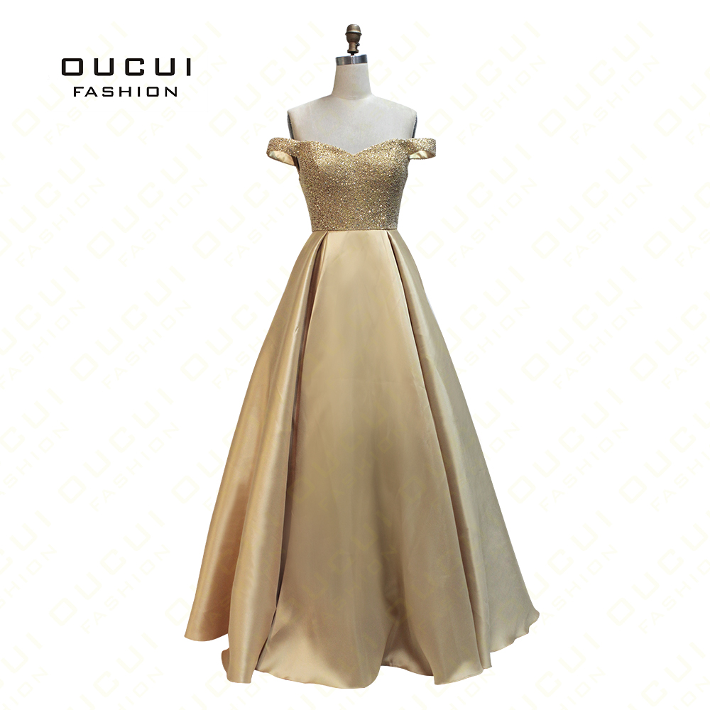 Real Photos Gold Color Sexy Backless Long Evening Dresses Bride Banquet Floor length Party Prom Dress
