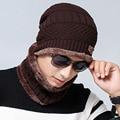 Men's Winter Hat Knitted Wool Cap Man Women Winter Casual Cotton Beanie Skullies Hat With Bib Outdoor Sport Warm for Man