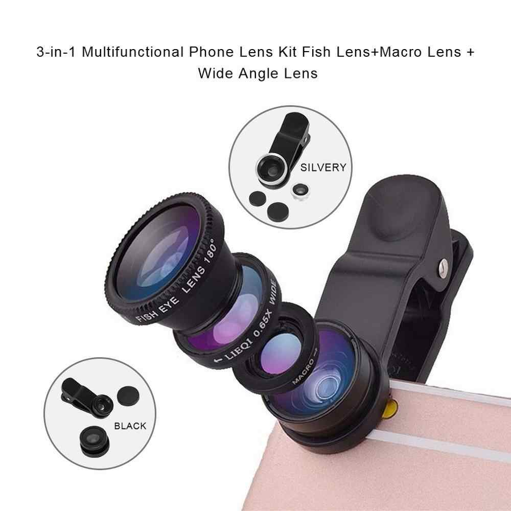 3-in-1 Multifunctionele Telefoon Lens Kit Fish Lens + Macro Lens + Groothoek Lens Transformeren Telefoon in Professionele Camera