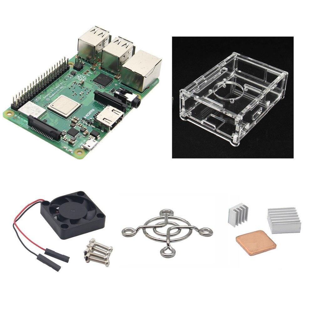 4-in-1 Raspberry Pi 3 Model B+ Board + Acrylic Case + Cooling Fan + Heat sink Kits / Starter Kit for raspberry pi 3 b+4-in-1 Raspberry Pi 3 Model B+ Board + Acrylic Case + Cooling Fan + Heat sink Kits / Starter Kit for raspberry pi 3 b+