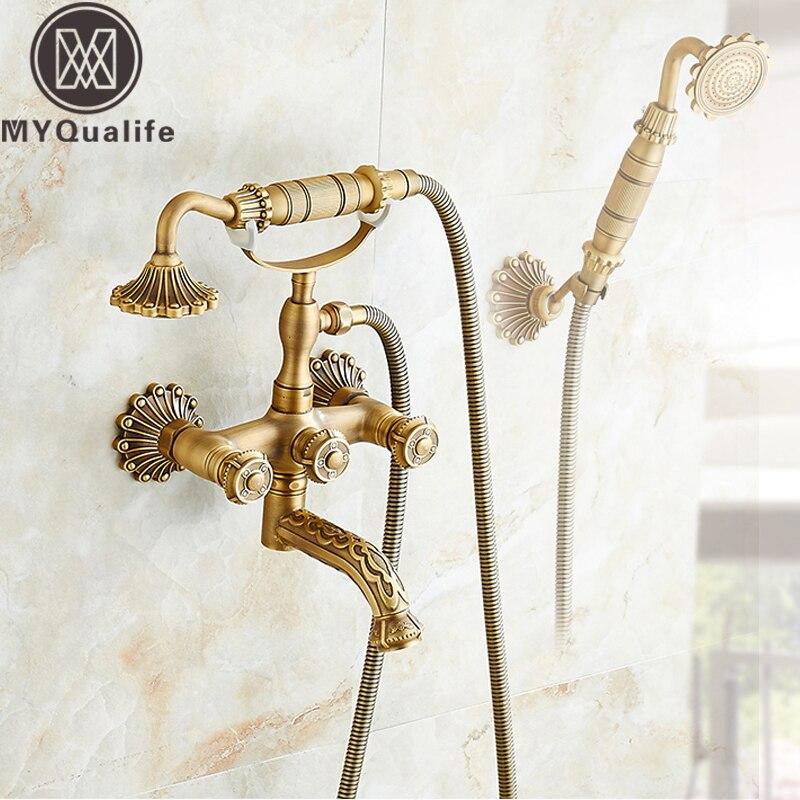 Antique Decorate Bathtub Faucet Artistic Bathroom Tub Sink Faucet Swivel Spout Handheld Shower Head Bath Shower Mixer Faucet tree print artistic bathroom waterproof shower curtain