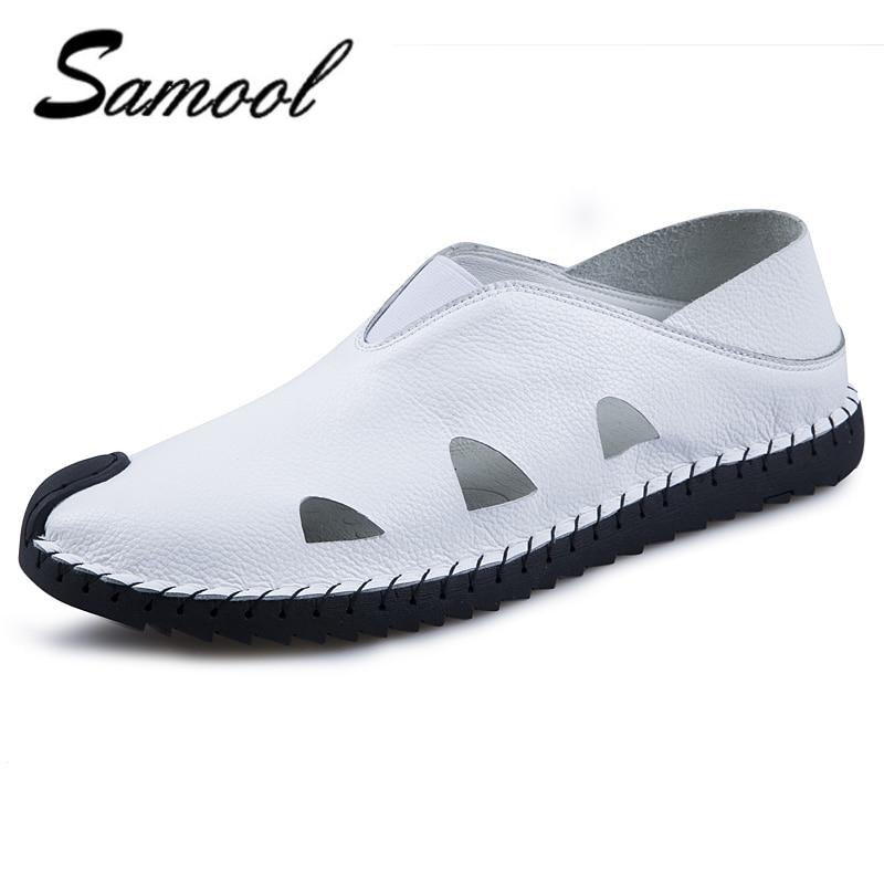 Hole shoes Men Leather Sandals Outdoor Summer Handmade Breathable Casual Shoes Footwear Walking men Sandals shoes men F4