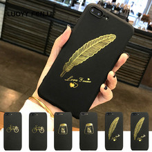 LUOYY FENJJ Feather Matte Case For iPhone 6 6s Plus Back Cover Soft Silicone TPU Smile 7 8 X Coque Protect