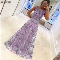 woman Europe and United States 2018 summer fashion temperament new best selling popular sleeveless banquet embroidered dress