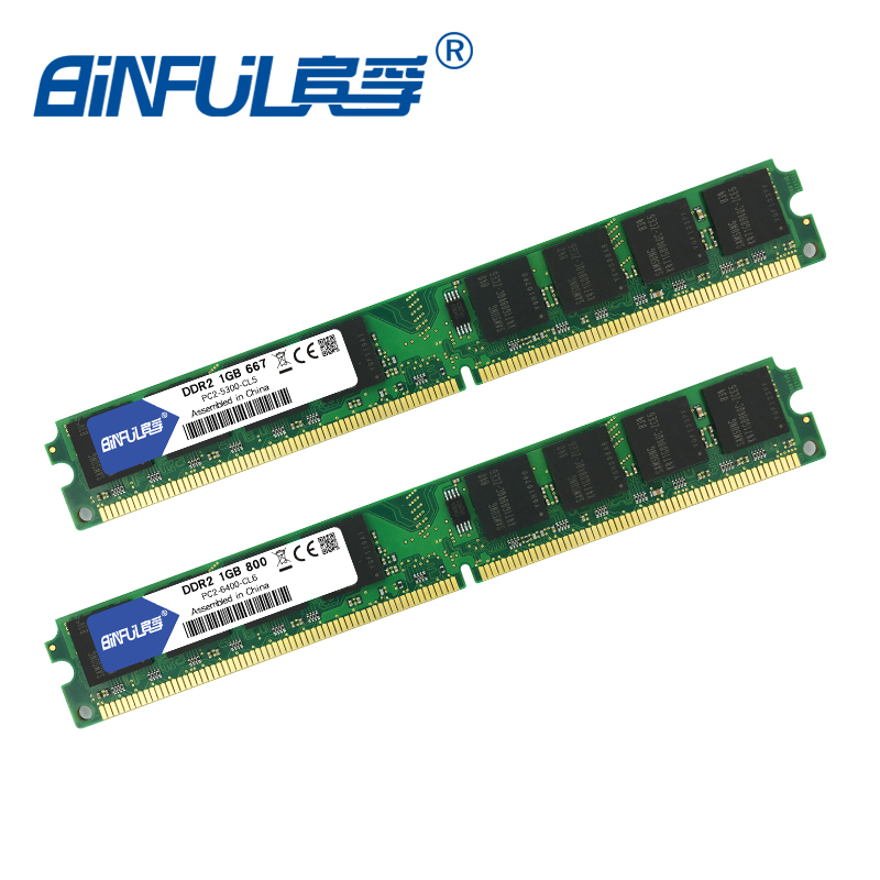 Binful Original New Brand DDR2 PC2-5300 667MHz PC2-6400 800MHz 1GB for Desktop RAM Memory Fully compatible
