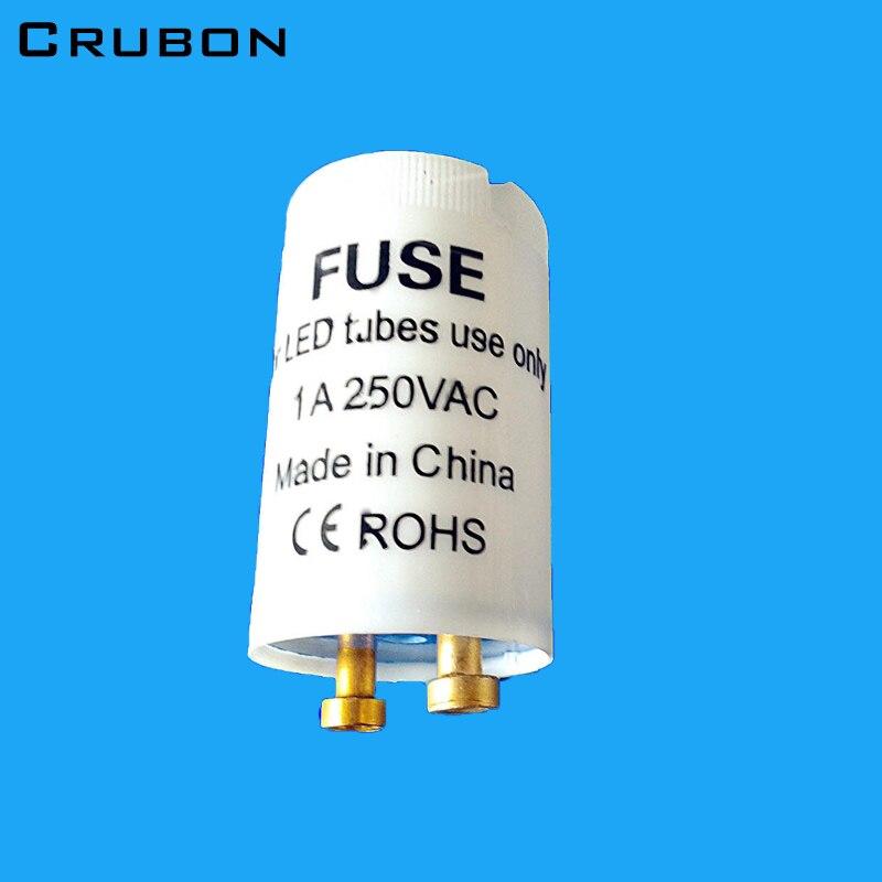 CRUBON 10pcs/lot CE/ROHS T8 LED Tube Starter Only Use LED Tube Protection 250V/1A The Best Electronic LED Starter For T8 LED