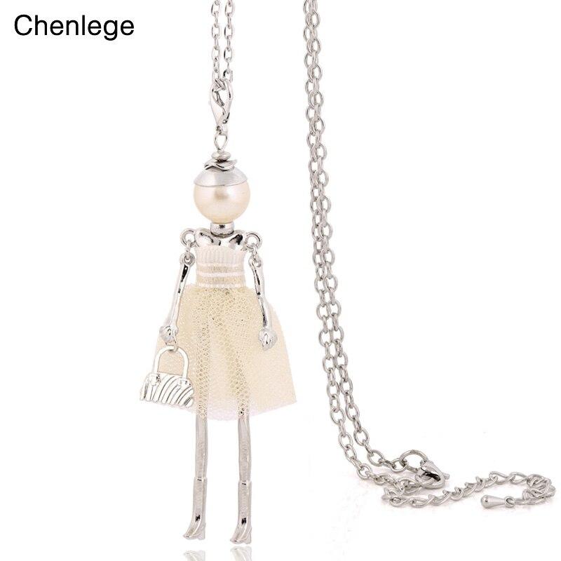 Женское Кукольное ожерелье с подвеской на длинной цепочке, Массивное колье-чокер с сумочкой, эффектные украшения, 2019