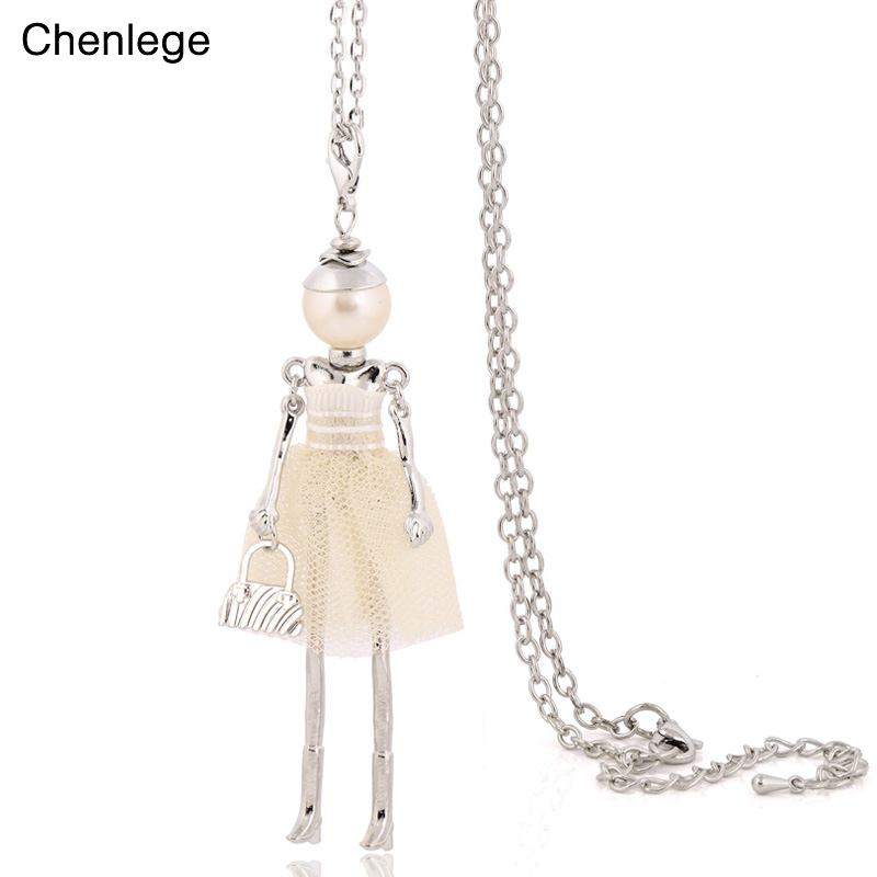 personality design doll necklace long chain pendant necklaces women girl bag statement jewelry 2019 big choker necklaces cute