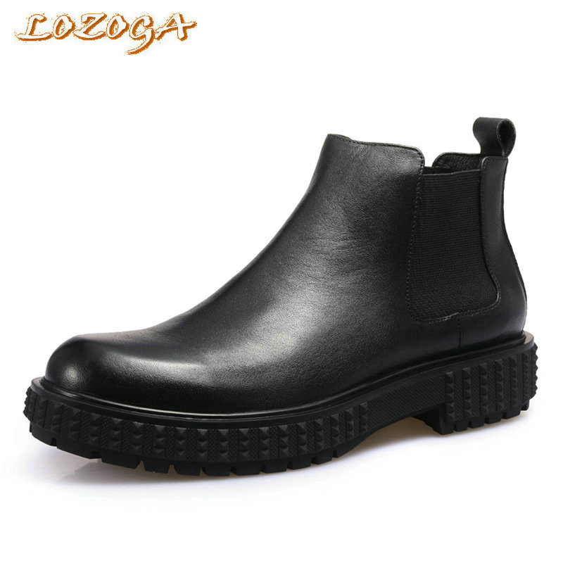 LOZOGA New Men Boots Genuine Leather Italian Black Luxury Fashion Boots Handmade Man Ankle Chelsea Boots Top Quality Brand Shoes lozoga new men shoes fashion boots ankle 100