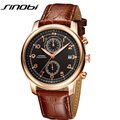 SINOBI Chronograph Men Watches Genuine Leather Watch Men 2016 Complete Calendar Display Wrist watches For Men Relojes Masculinos