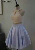 Голубой жемчуг 2 Двойка Homecoming платье Мини Короткие 8th Класс Выпускной Выпускные платья бисером Свадебные платья 15,