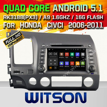 WITSON Android 5.1 CAR DVD RADIO for HONDA CIVIC Capacitive touch screen Cortex A9 Qual-core1.6G 8GB Rom Free Shipping
