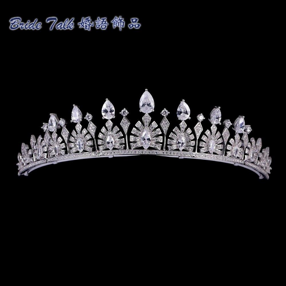 Takı ve Aksesuarları'ten Saç Takısı'de Lüks Düğün Vintage Kraliyet Taç Yeşil AAA CZ Tiara Nedime Gelin Düğün Saç Takı Kadın Kron TR15038'da  Grup 2