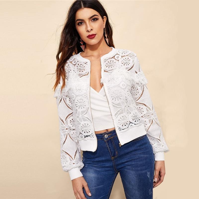 Sheinside White Elegant Hollowed Out Lace Jacket Women 19 Back Frayed Edge Detail Jackets Ladies Fringe Zip-up Lace Outwear 12
