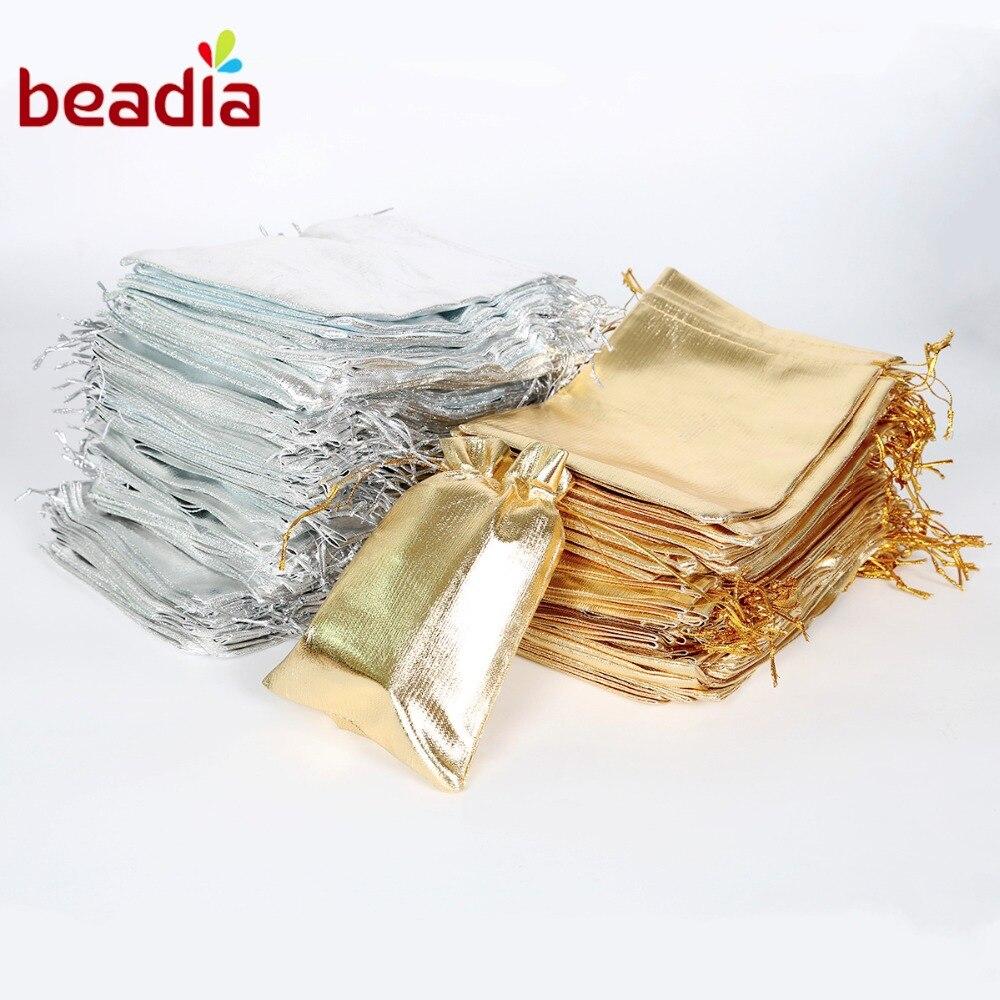 10 шт., золотистые/Серебристые тянущиеся сумки из органзы 7x9 9x12 10x15 13x18 см, праздничная сумка для рождественских и свадебных конфет, подарочные...