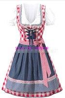 New ! Oktoberfest Beer Festival October Dirndl Skirt Dress Apron Blouse Gown Red Lattice 2017 German Bavarian Costume Girl Women
