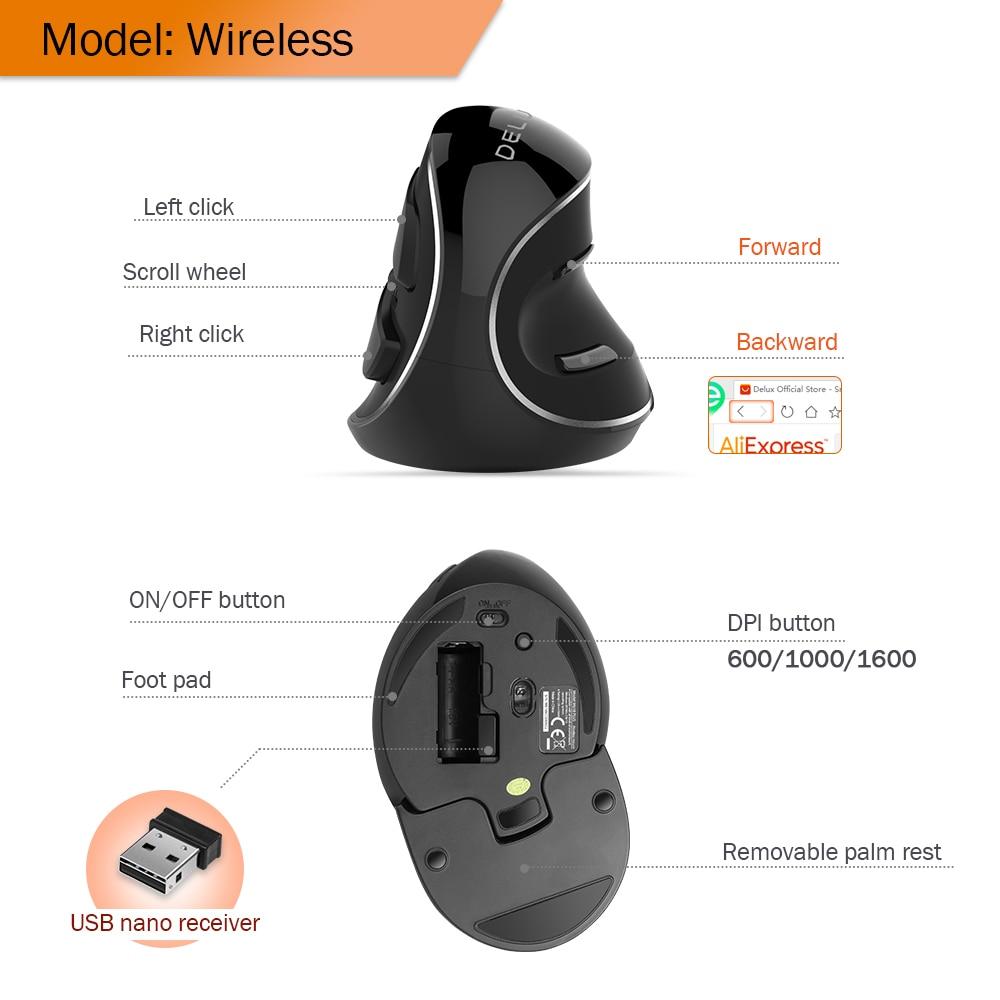 Mouse ergonômico para deficientes e dor nas articulações - Delux-mouse com fio ou sem fio, ergonômico, 4000 dpi, para android, computador e notebook 5